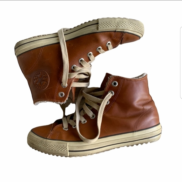 Converse: Brown Leather Fuzzy Faux fur inside 11